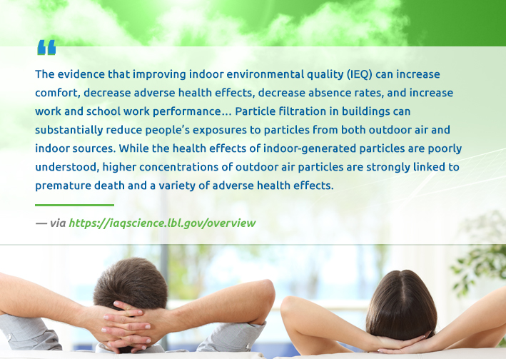 """The evidence that improving indoor environmental quality (IEQ) can increase comfort, decrease adverse health effects, decrease absence rates, and increase work and school work performance...Particle filtration in buildings can substantially reduce people's exposures to particles from both outdoor air and indoor sources. While the health effects of indoor-generated particles are poorly understood, higher concentrations of outdoor air particles are strongly linked to premature death and a variety of adverse health effects."" – https://iaqscience.lbl.gov/overview"